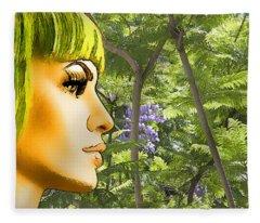 Green Hair And Jacaranda  Fleece Blanket