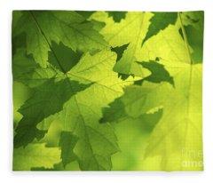 Green Maple Leaves Fleece Blanket