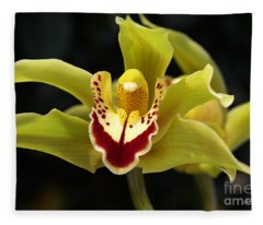 Green Orchid Flower Fleece Blanket