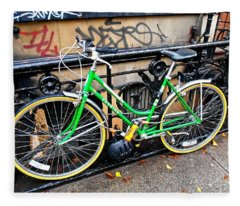 Green Schwinn Bike  Nyc Fleece Blanket
