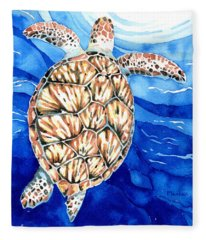 Green Sea Turtle Surfacing Fleece Blanket