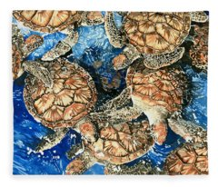 Green Sea Turtles Fleece Blanket
