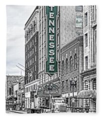 Green Tennessee Theatre Marquee Fleece Blanket