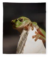 Green Tree Frog Keeping An Eye On You Fleece Blanket