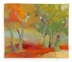Green Trees Fleece Blanket
