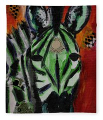 Green Zebra Stripes  Fleece Blanket