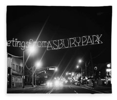 Greetings From Asbury Park New Jersey Black And White Fleece Blanket