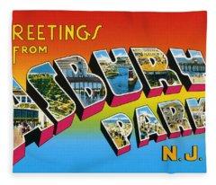 Greetings From Asbury Park Nj Fleece Blanket