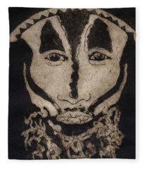 Greetings From New Guinea - Mask - Tribesmen - Tribesman - Tribal - Jefe - Chef De Tribu Fleece Blanket