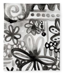 Grey Garden- Abstract Floral Painting Fleece Blanket