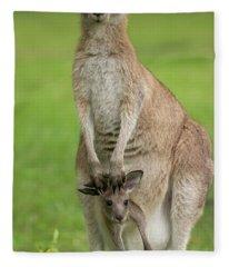 Grey Kangaroo And Joey  Fleece Blanket