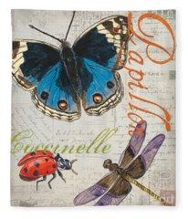 Grey Postcard Butterflies 4 Fleece Blanket