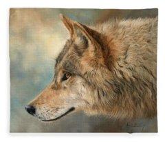 Grey Wolf 3 Fleece Blanket