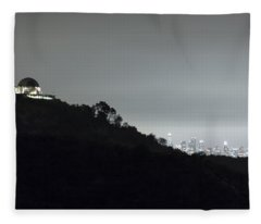 Griffith Park Observatory And Los Angeles Skyline At Night Fleece Blanket
