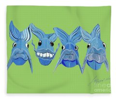 Grinning Fish Fleece Blanket