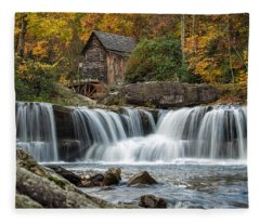 Grist Mill With Vibrant Fall Colors Fleece Blanket