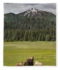 Grizzly Bear Mother And Cubs In Meadow Fleece Blanket