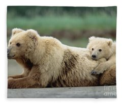 Grizzly Mother And Son Fleece Blanket