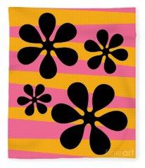 Groovy Flowers I Fleece Blanket