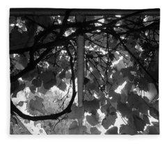 Gropius Vine - Black And White Fleece Blanket