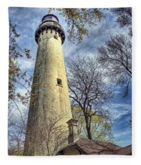 Grosse Point Lighthouse Color Fleece Blanket