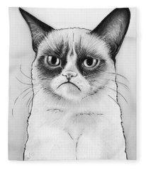 Grumpy Cat Portrait Fleece Blanket