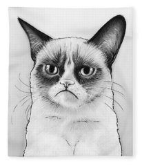 Grumpy Cat Portrait Fleece Blanket