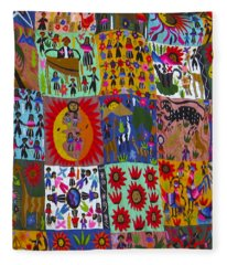 Guatemala Folk Art Quilt Fleece Blanket