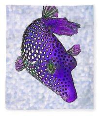 Guinea Fowl Puffer Fish In Purple Fleece Blanket