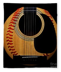 Guitar Baseball Square Fleece Blanket