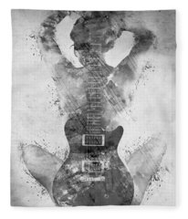 Guitar Siren In Black And White Fleece Blanket