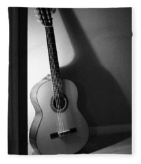 Guitar Still Life In Black And White Fleece Blanket