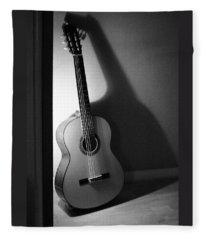 Guitar Still Life In Black And White Fleece Blanket