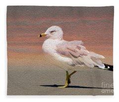 Gull Onthe Beach Fleece Blanket