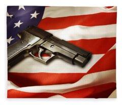 Gun On Flag Fleece Blanket