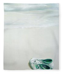 Gym Shoes On Beach Fleece Blanket