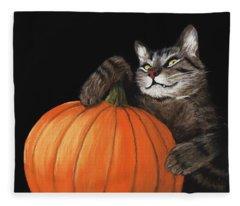 Halloween Cat Fleece Blanket