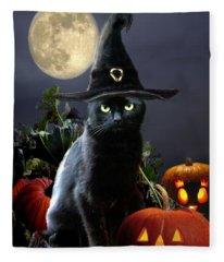 Witchy Black Halloween Cat Fleece Blanket