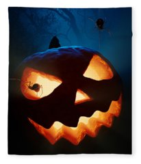 Halloween Pumpkin And Spiders Fleece Blanket