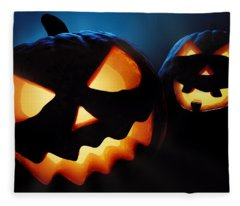 Halloween Pumpkins Closeup -  Jack O'lantern Fleece Blanket