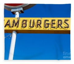 Hamburgers Old Neon Sign Fleece Blanket