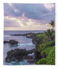 Hana Arches Sunrise 3 - Maui Hawaii Fleece Blanket
