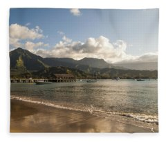 Hanalei Bay Pier - Kauai Hawaii Fleece Blanket