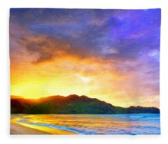Hanalei Sunset Fleece Blanket