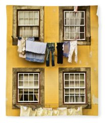 Hanging Clothes Of Old World Europe Fleece Blanket