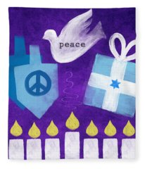 Hanukkah Peace Fleece Blanket