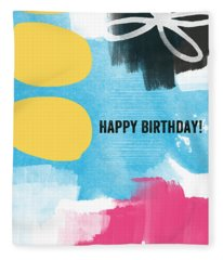 Happy Birthday- Colorful Abstract Greeting Card Fleece Blanket