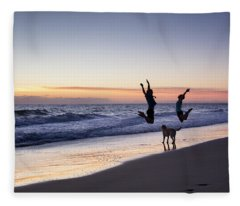 Happy Couple With A Dog Jumping High Fleece Blanket