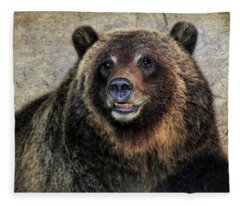 Happy Grizzly Bear Fleece Blanket