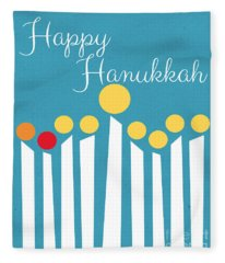 Happy Hanukkah Menorah Card Fleece Blanket